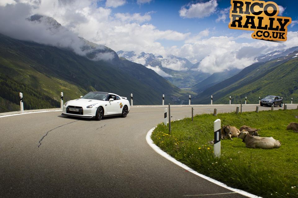 Nissan GTR on Furka Pass