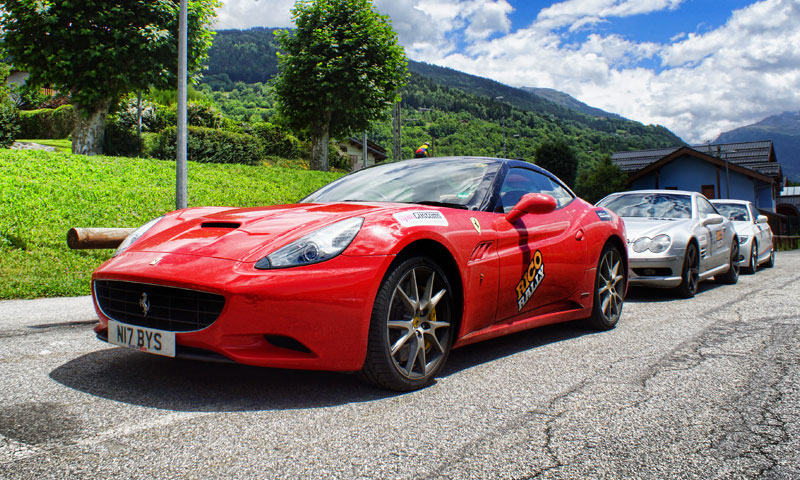 ferrari in the alps